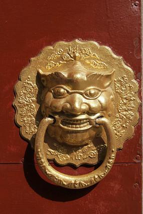金漆铜雕狮子辅首门扣