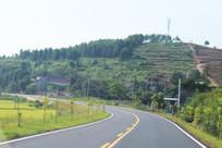 马路上建筑山脉风景