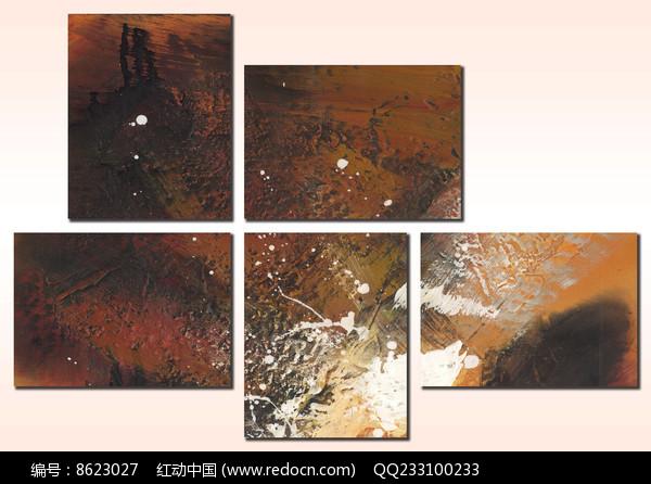 抽象油画五联装饰画图片