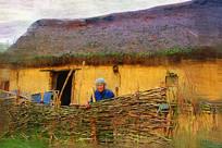 电脑画《农家老人》