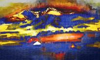 蓝色的漂亮抽象油画