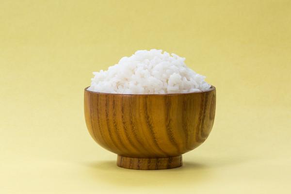 纯色背景的一碗米饭
