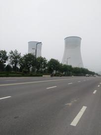 发电厂烟囱近景