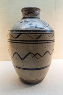 元代磁州窑黑花水波纹瓷罐
