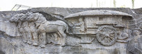 壁雕古代四驾马车