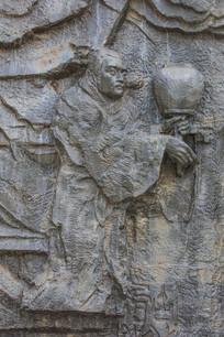 壁雕手持灯笼的古代男人