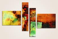 抽象荷花油画装饰画
