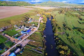莫尔道嘎河畔边塞村庄(航拍)