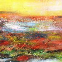 抽象油画风景画