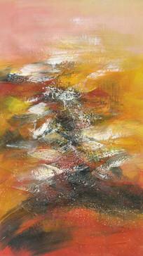 竖版抽象油画玄关壁画