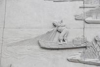 打鱼的人物雕刻