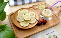 冻干柠檬片摄影图