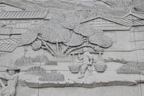 劳作人物场景浮雕