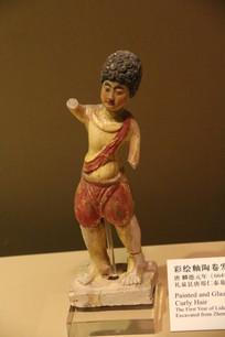 唐天竺女子彩塑像