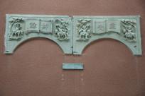 清代浮雕人物文字门楣石