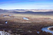额尔古纳湿地初冬曲水细节
