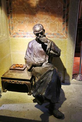 清代喝茶先生雕像