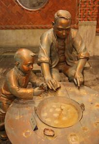 石雕父子吃火锅