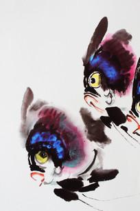 传统字画游动的小鱼