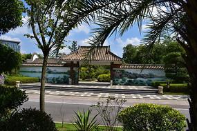 五象湖公园园林山水画墙