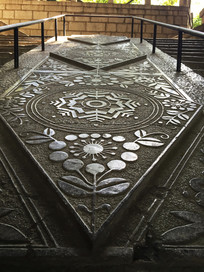 石板雕刻花纹古文物