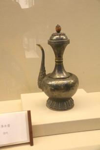 藏式雕花纯银镶玛瑙净水壶