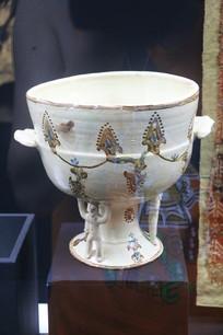 罗马尼亚陶瓷手绘双耳三人托杯
