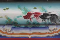 房梁彩绘画水草金鱼