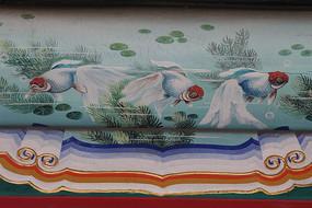 房梁彩绘画水藻金鱼群