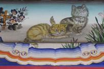 房梁彩绘画小花猫