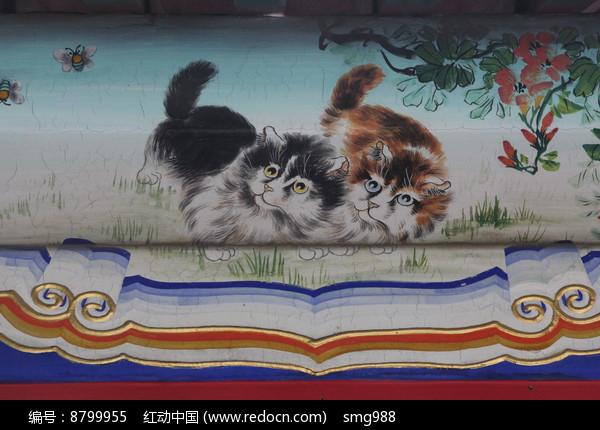 房梁彩绘画小猫蜜蜂图片