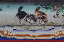 房梁彩绘画小猫蜜蜂