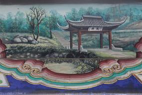 房梁彩绘画西湖龙井