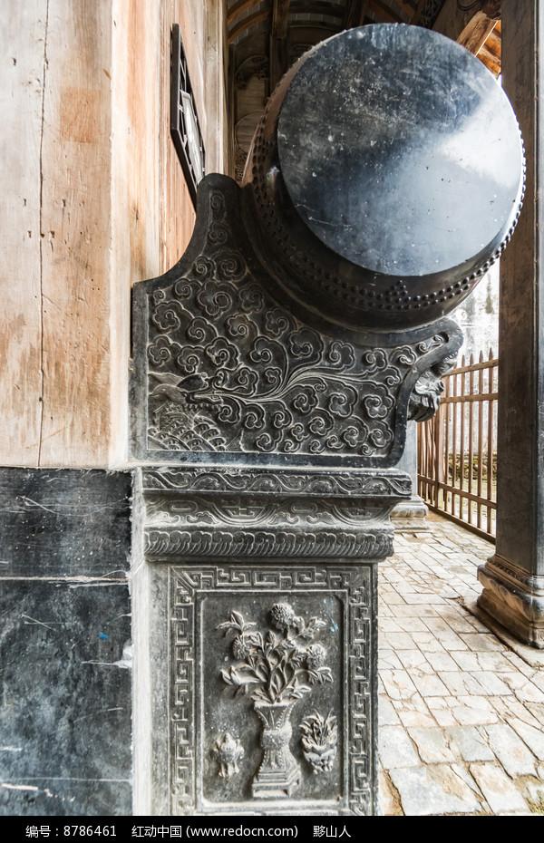黟县青雕刻的石鼓图片