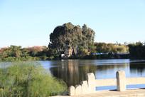 白色石桥外的大湖与树林