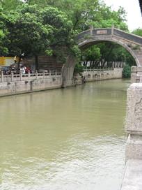 大运河上的拱桥与树林