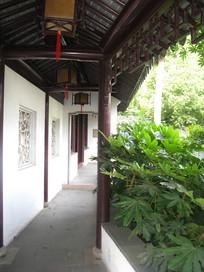 蜿蜒的长廊与房梁上的灯笼