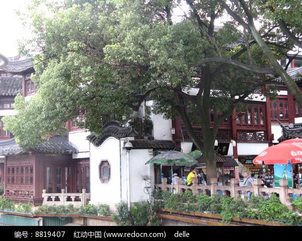 大榕树下的城隍庙一景