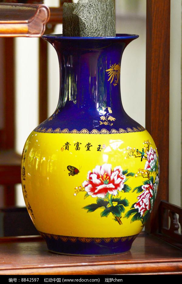 蝶恋花图案陶瓷花瓶图片