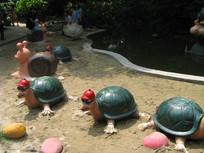 卡通乌龟排成排