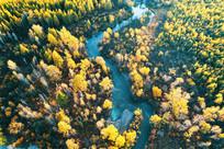 美丽的河湾秋色 (航拍)