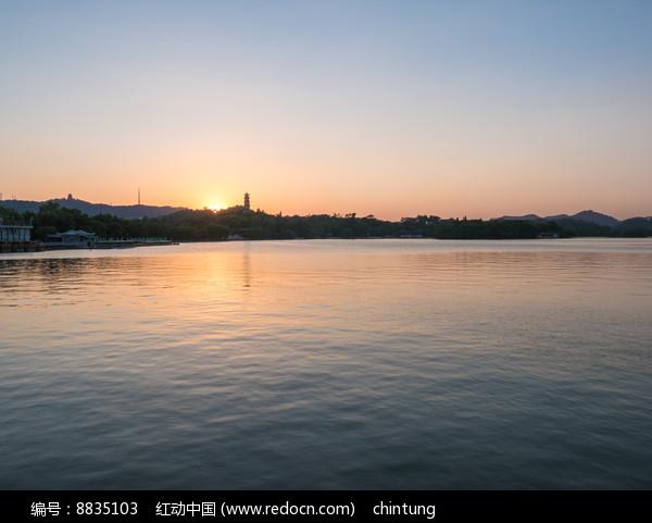 美丽的惠州西湖晚霞景观图片