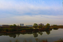 河畔树木倒影与远处城市