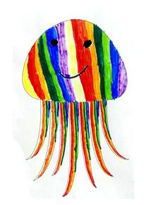 彩色卡通水母