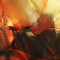 暖色抽象油画