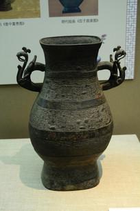 潘虺纹双鸩耳铜方壶