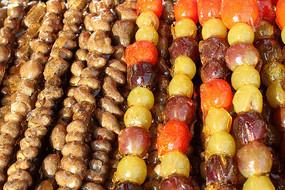 特制的山药豆西红柿葡萄糖葫芦