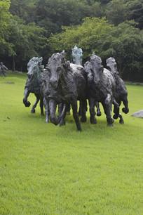 奔跑中的马群石雕雕塑
