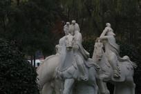 骑马踏春的唐朝女子群雕