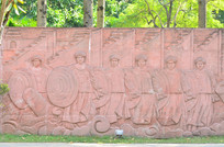 清朝人物浮雕